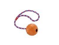 Hundespielzeug Vollgummiball mit Glocke und Seil DM 7cm