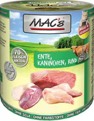 Mac's Katzendosenfutter Ente, Kaninchen und Rind 800g