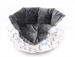Hundebett oval 55cm weiß/anthrazit