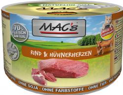 Mac's Katzendosenfutter Rind und Hühnerherzen 200g